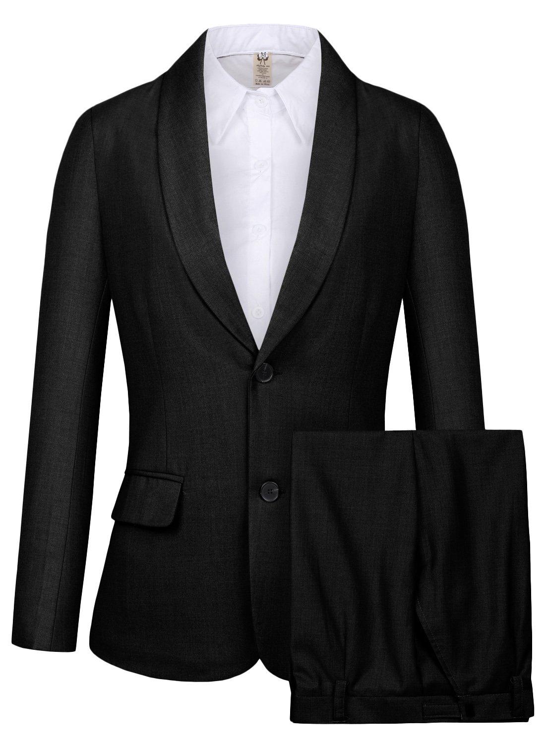 CMDC Women's 2 PC Business Casual Shawl Collar Formal Blazer Suit Pants Sets MI35 (Black, 6)
