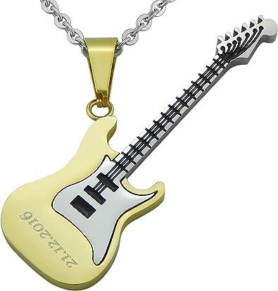 Damen Herren Edelstahl Anhänger Schmuck Kette E-Gitarre Musik Instrument silber