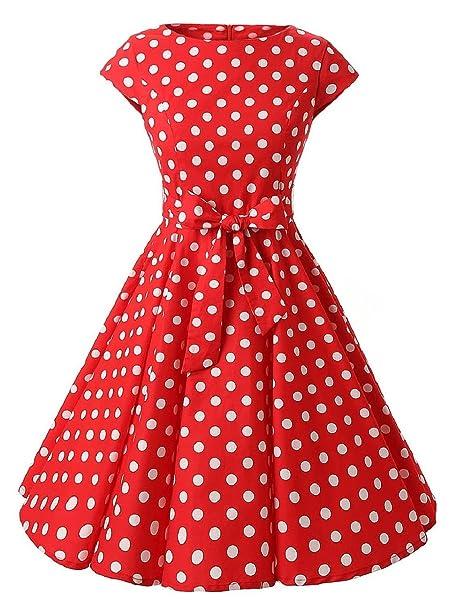 18cce901a9e1 VKStar® Vintage 50s Rockabilly Kleid Damen Polka Dots Audrey Hepburn Kleid  Cocktailkleid mit Tupfen Swing Kleid