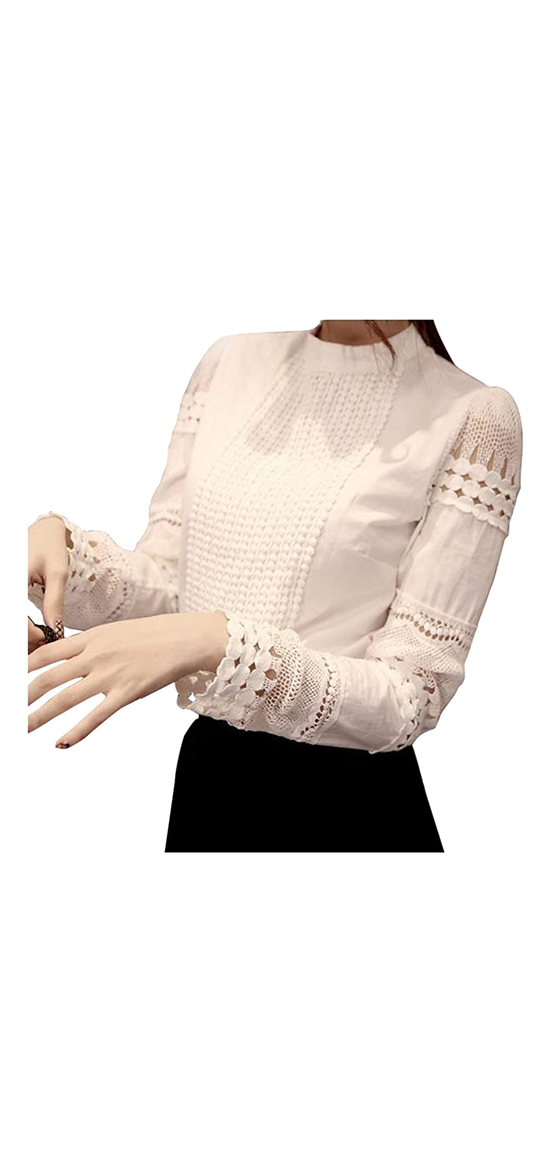 Women Hollow Out Lace Casual Worklong Sleeve Elegant