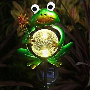 Litake Frog Garden Solar Lights Outdoor Decorative, Metal Frog Garden Decor for Outside Solar Stake Lights for Garden Lawn Ornaments Patio Yard Decorations