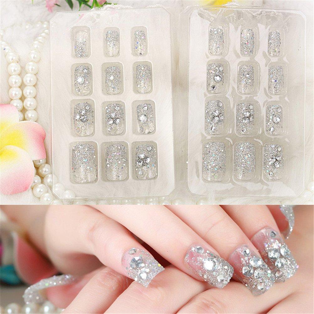 Himanjie brillantes y perlas novia transparente uñas ...