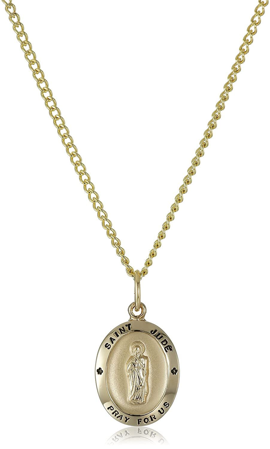 14k Gold Filled Oval Saint Jude Pendant Necklace with Stainless Steel Chain, 18' 18 AMZ403SC