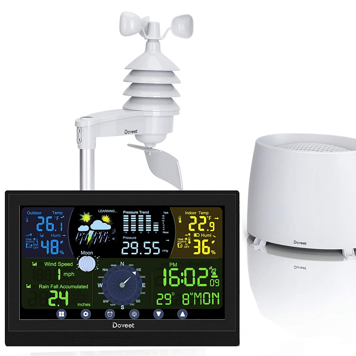 Weather Station with Outdoor Sensors, Wireless Weather Stations with Rain Gauge, Wind Speed Gauge, Weather Forecast, Air Pressure, Indoor Outdoor Temperature & Humidity, Moon Phase, Alarm Clock