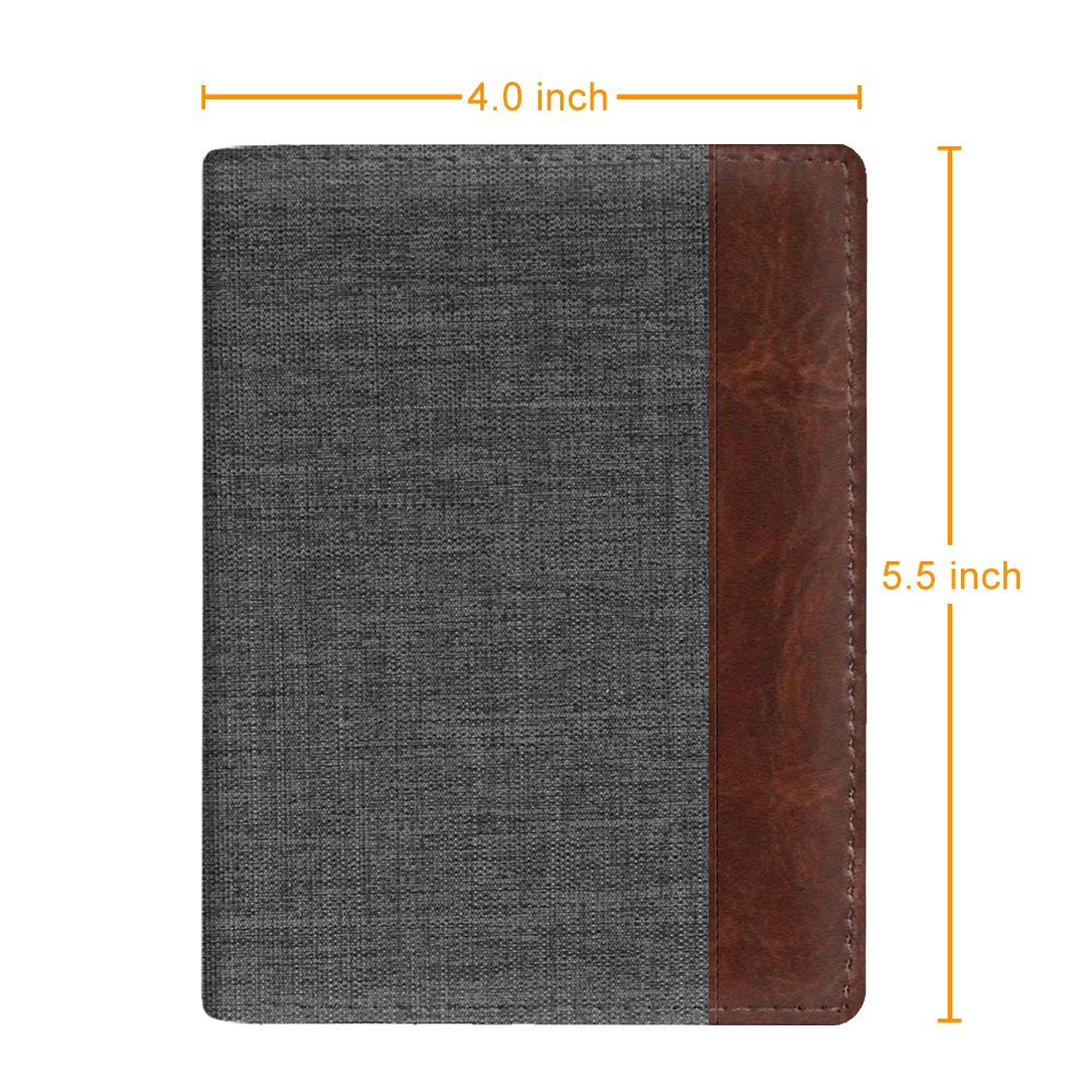 Fintie Passport Holder Travel Wallet - Premuim Fabric with Vegan Leather RFID Blocking Case Cover - Securely Holds Passport, Business Cards, Credit Cards, Boarding Passes, Denim Charcoal/Brown by Fintie (Image #6)