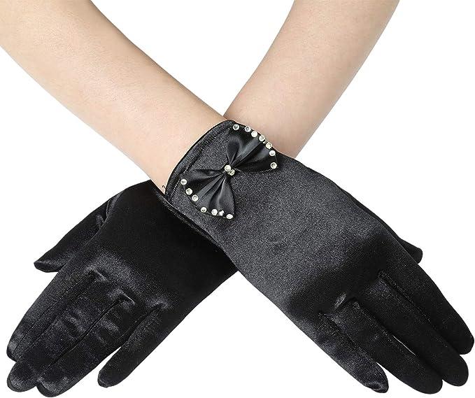 Coucoland Damen Kurze Satin Handschuhe mit Schleife Dramatische 1920s Handschuhe f/ür Opera Fest Gatsby Party Retro Hochzeit Damen Fasching Kost/üm Accessoires