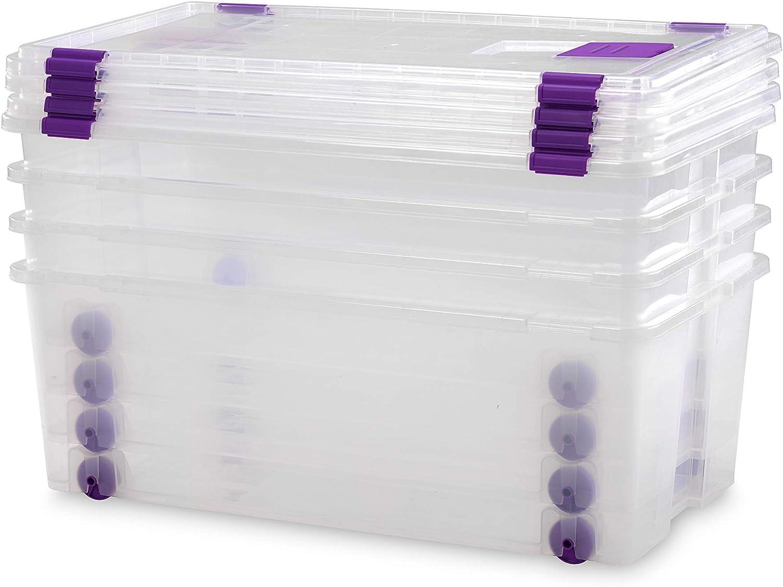 TODO HOGAR Cajas Almacenaje Plastico Grandes Multiusos con Ruedas Natural - 730x405x265-62 litros (4)