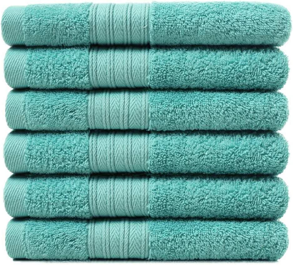 Lightwind 6 Pack Premium Fade-Resistant Cotton Hand Towels, Lint Free 16 X 28 Inches Hand Towel Set, Highly Absorbent and Durable Spa & Hotel Quality Towels, Turquoise Blue: Kitchen & Dining
