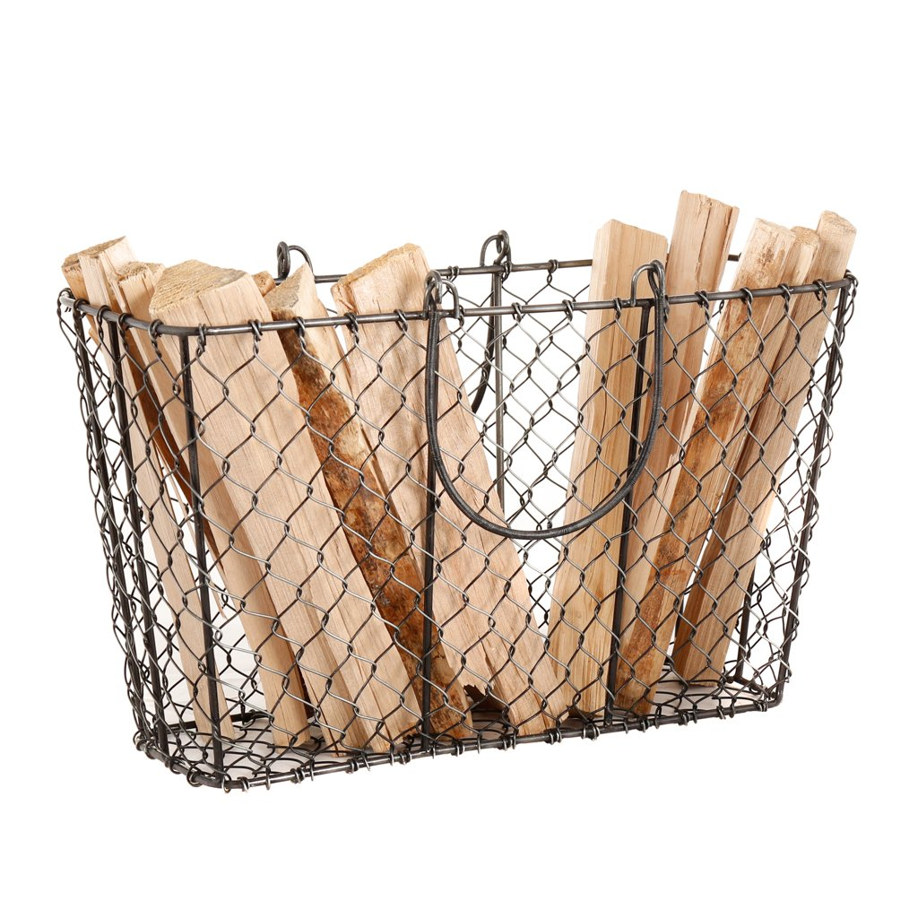 Durable Black Mesh Firewood Kindling Log Basket Cradle Rack - W37.5cm Dibor