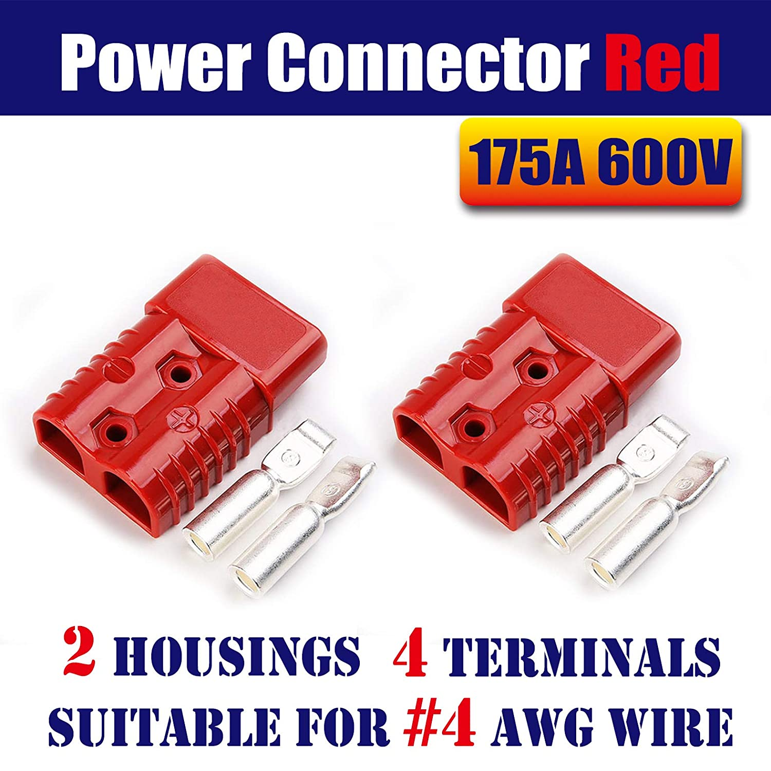 Mr.Brighton LED 175Amp Anderson Compatible 2 Pole Power Connector Plug Red w//Terminals for #4 AWG Wire 2 housing+4 Terminal pins