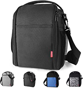 Yookeehome Lunch Bag for Men Women Durable Insulated Lunch Box with Adjustable Strap with Drinks Holder Practical Gift Idea