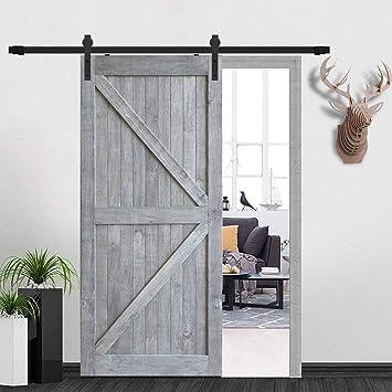 Home Decorate American Country Style - Kit de puerta corredera de madera en forma de J con mecanismo de cierre suave: Amazon.es: Bricolaje y herramientas