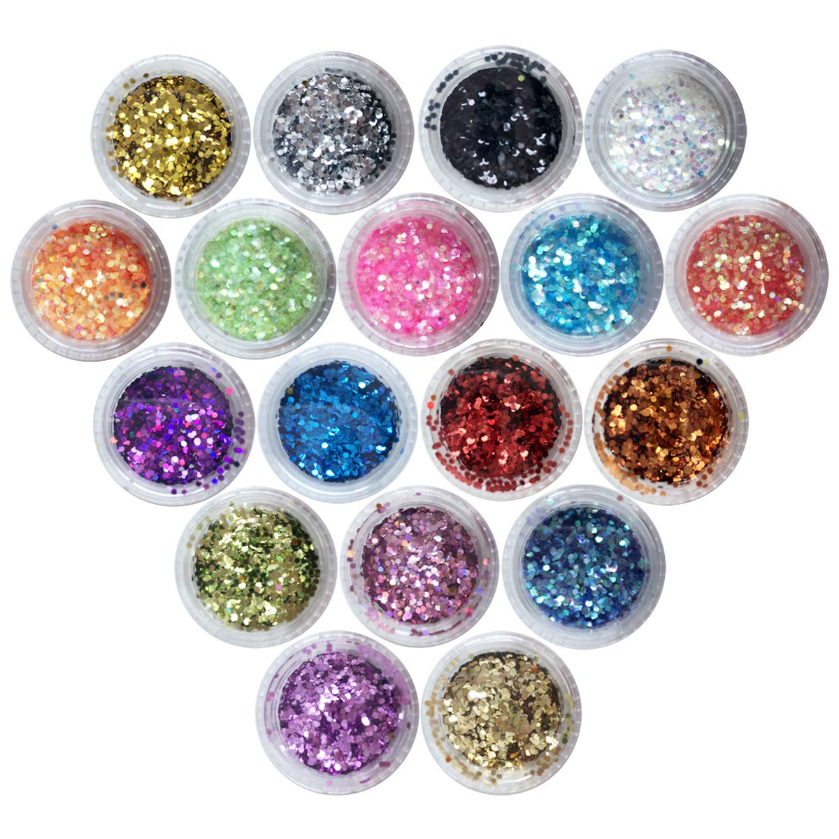 Nail Art Flake 12 Boxes Nail Glitters Circle Confetti Glitter Chunky Glitters for Hair Face and Eye Make Up Foil Flakes for Slime (12 Colors, Circle-Mix) Novelty Bank