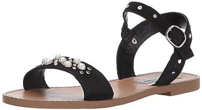 360eaf21e12 Steve Madden Women s Dancer Flat Sandal Black Nubuck 6.5 ...
