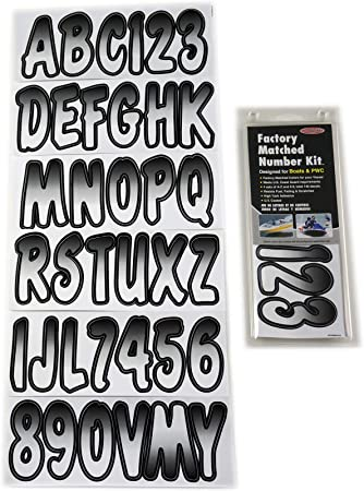 Hardline Products Series 200 Factory Matched 3-Inch Boat /& PWC Registration Number Kit Bluejay//Black