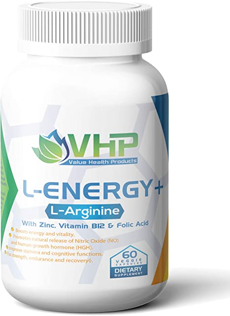 L-Energy+; Best L Arginine Supplement Pills with Zinc, Vitamin B-12, and Folic Acid; 60 Veg Caps; Pre Workout N.O. Booster for Muscle Growth; Energy and Cognition.