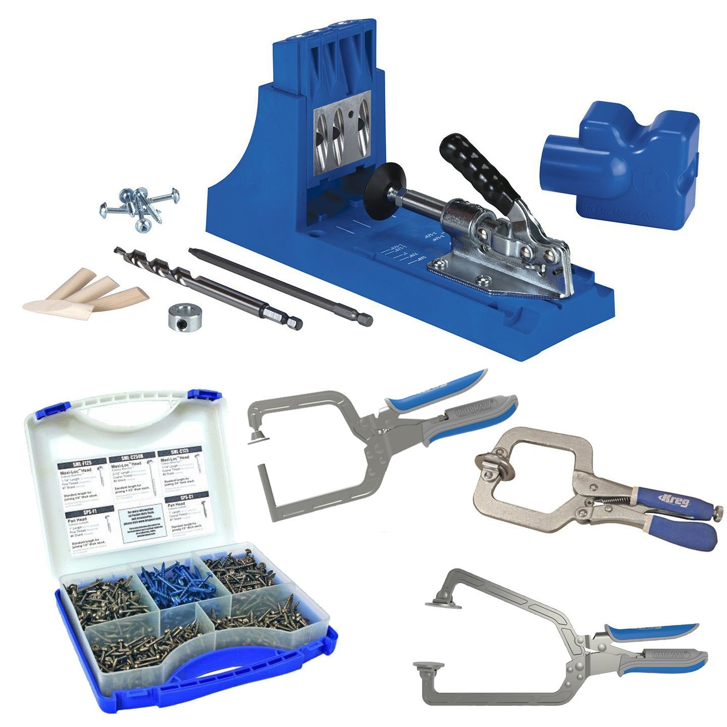 Kreg Jig K4 Pocket Hole System with Screw Kit and 3-pc Clamp Set