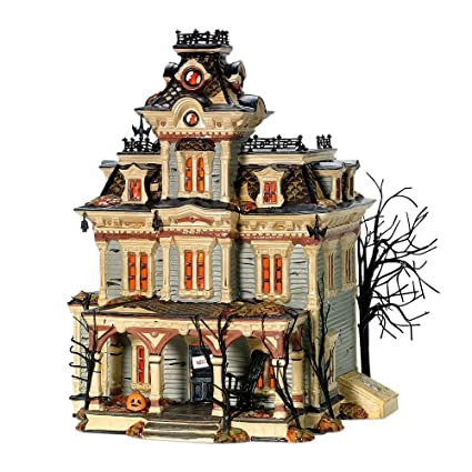 department 56 snow village halloween grimsly manor lit house