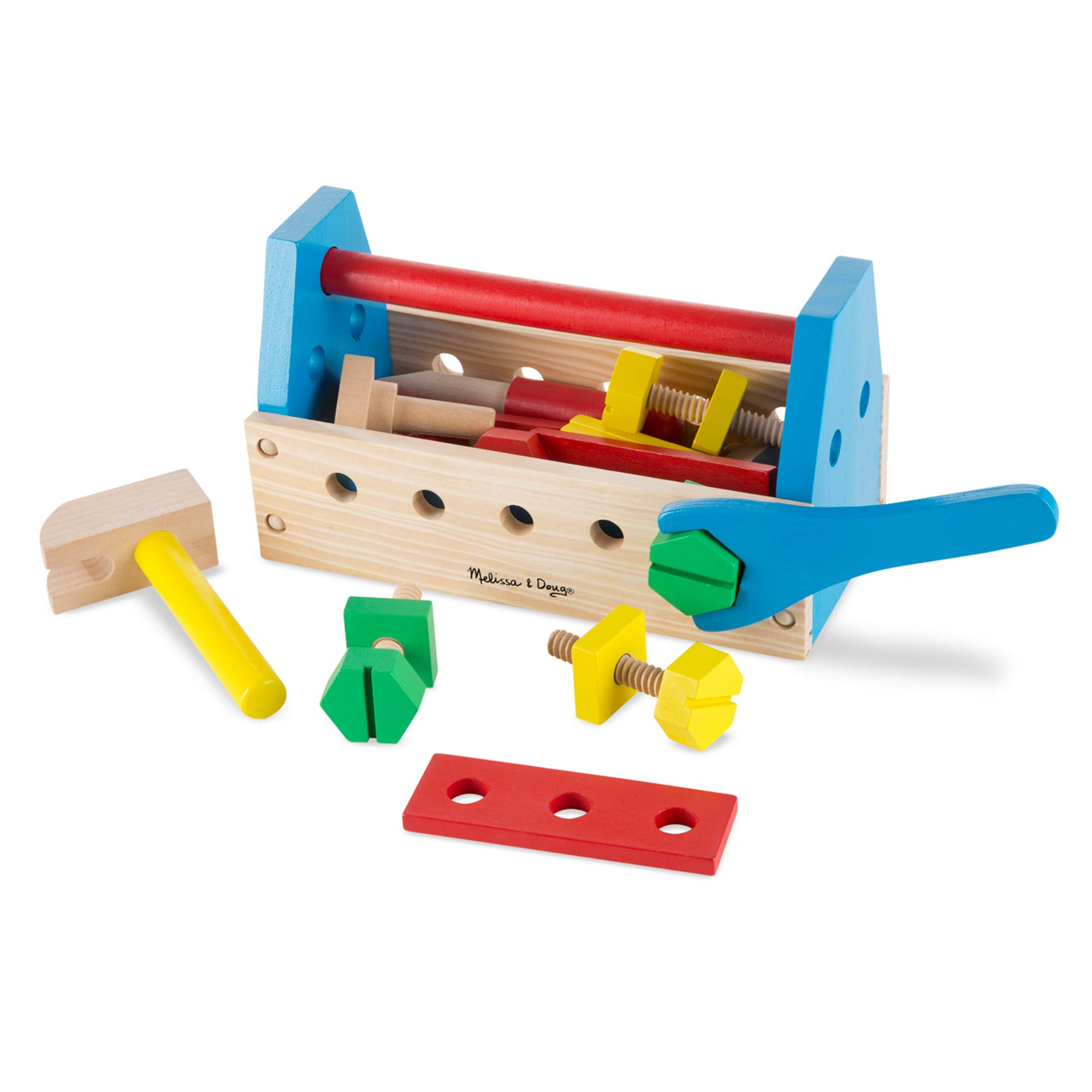 Melissa & Doug Take-Along Tool Kit Wooden Toy (Pretend Play, Sturdy Wooden Construction, 9.9'' H x 5.5'' W x 4.8'' L, Great Gift for Girls and Boys - Best for 3, 4, and 5 Year Olds) by Melissa & Doug