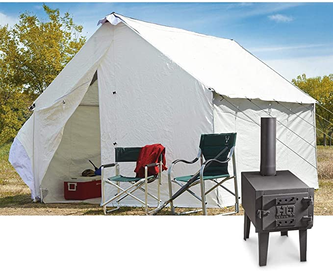 Leinwand Zelt mit Boden, Aluminiumrahmen und Holzofen, 3 x 3