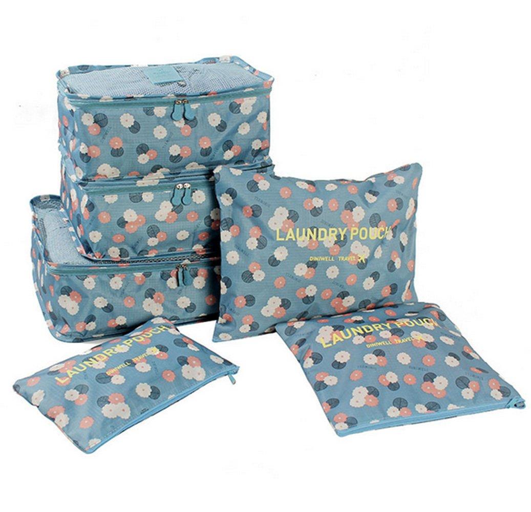 WKBY 6 pcs Voyage Sacs De Rangement Étanche Vêtements Sacs De Rangement D'emballage Cube Haute Capacité Vêtements De Bagages Rangée Organisateur Poche (Color 1)