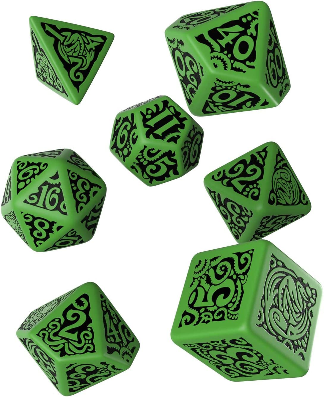 Q Workshop Call of Cthulhu The Outer Gods Cthulhu RPG Ornamented Dice Set 7 Polyhedral Pieces: Amazon.es: Juguetes y juegos