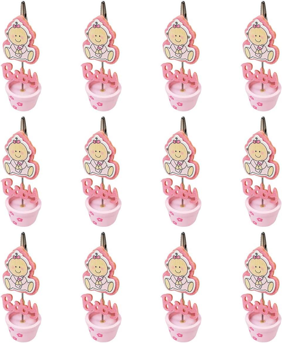 12 Pinzas Madera Portafotos Soporte Tarjeta,Foto,Bautizo de niña,Decorativas,Recuerdos. Decoración. Regalos Originales. Detalles de Bodas, Comuniones, Bautizos, Cumpleaños-Niña