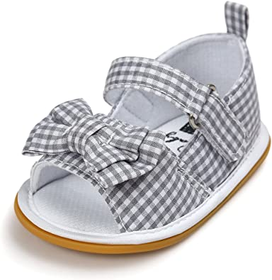 QGAKAGO Baby Girls Summer Sandals-Cotton Bowknot Flat Shoes