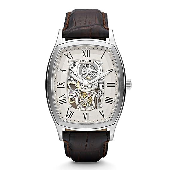 Fossil Ansel Automatik ME3023 - Reloj analógico automático para hombre, correa de cuero color marrón: Fossil: Amazon.es: Relojes