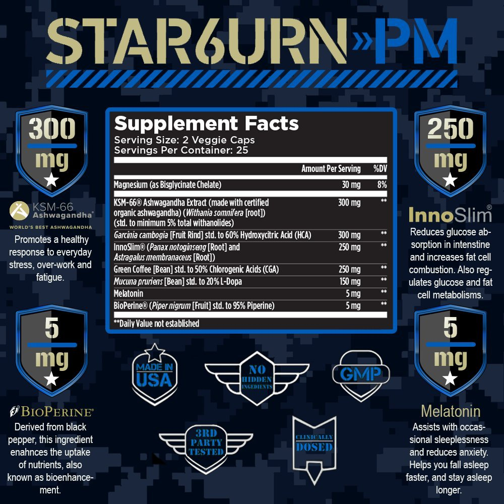 Amazon.com: T6 STAR6URN-PM – Fat Burner and Sleep Aid for Muscle ...