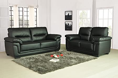 Kansas Black Leather Sofa Suite 3+2 Seater Brand New 12 Months Warranty  FREE DELIVERY