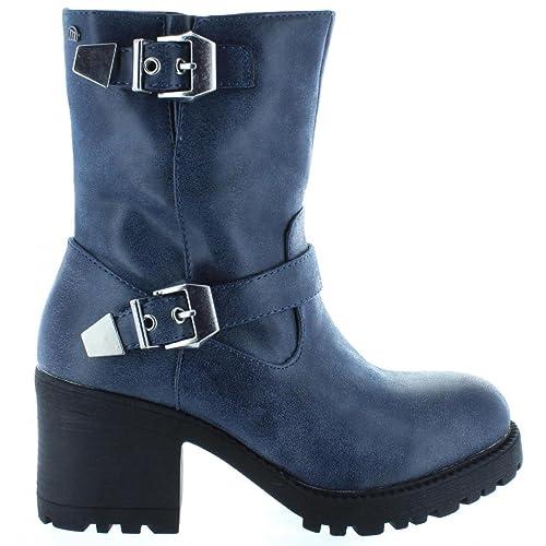 Mustang - Botas Suevo azul-Altura tacón: 7cm- - 51220 - Talla 40: Amazon.es: Zapatos y complementos