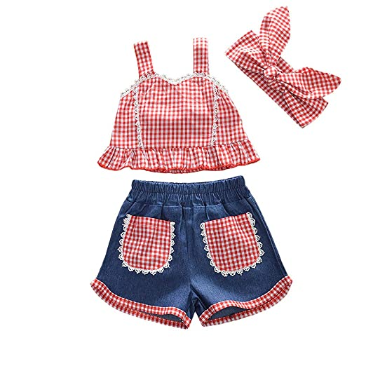 New Arrivels 3pcs Newborn Toddler Baby Girl Plaid Vest Tops+denim Pants+ Clothing, Shoes & Accessories Girls' Clothing (newborn-5t)