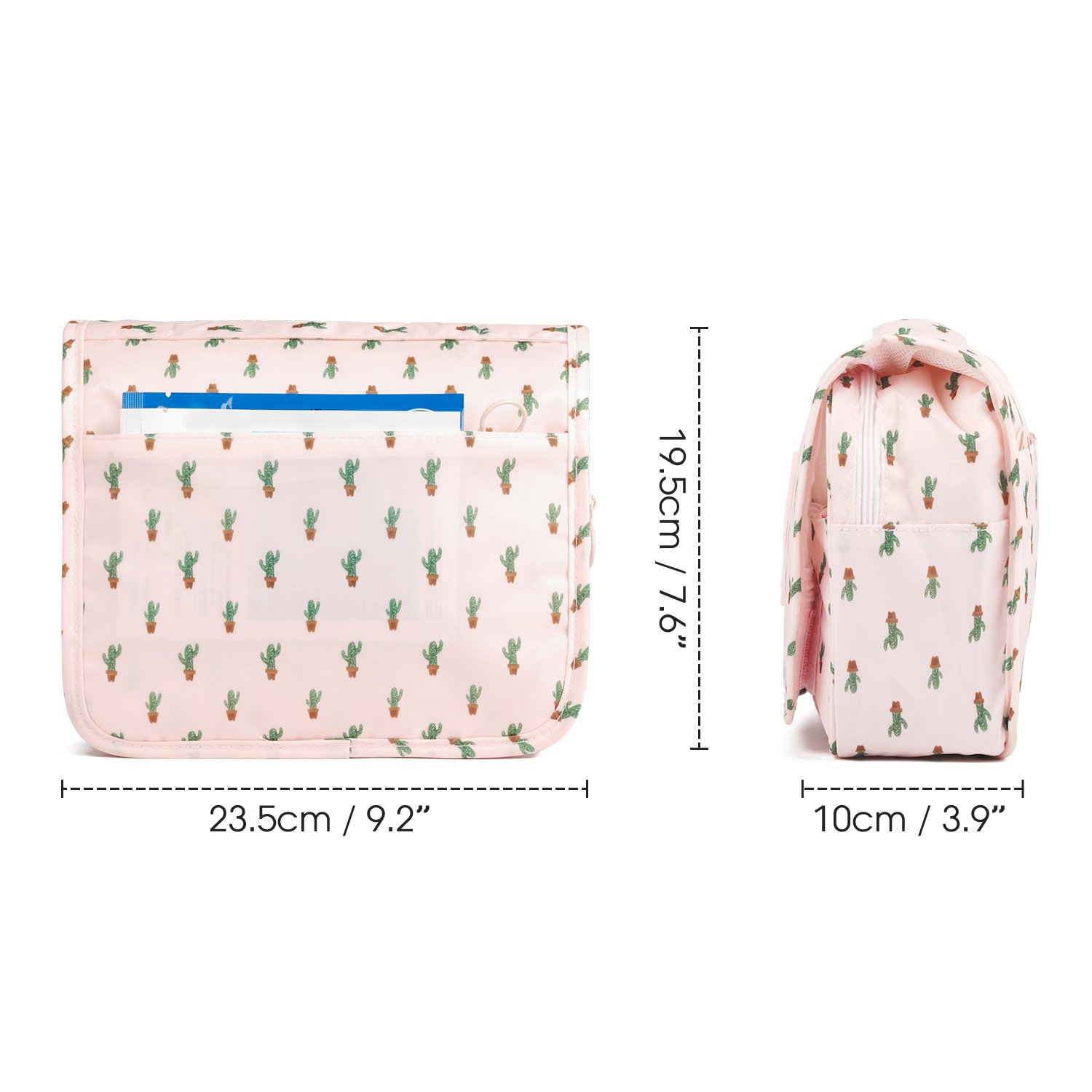 8faf5e5d014e Hanging Travel Toiletry Bag Cosmetic Make up Organizer for Women and Girls  Waterproof (Cactus)