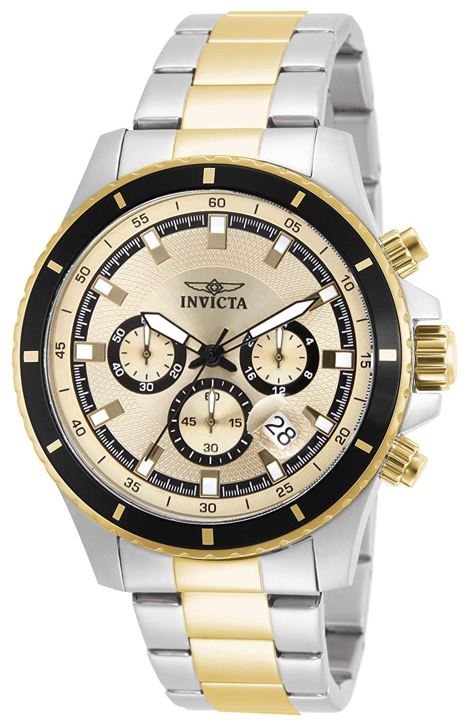 Invicta Men s 12456 Pro Diver Chronograph Gold Tone Dial Two Tone Stainless Steel Watch