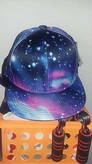 Quanhaigou Purple Galaxy Snapback Hat Unisex Trucker Hat Hip Hop Plaid Flat Bill Brim Adjustable Baseball Cap Super Awesome