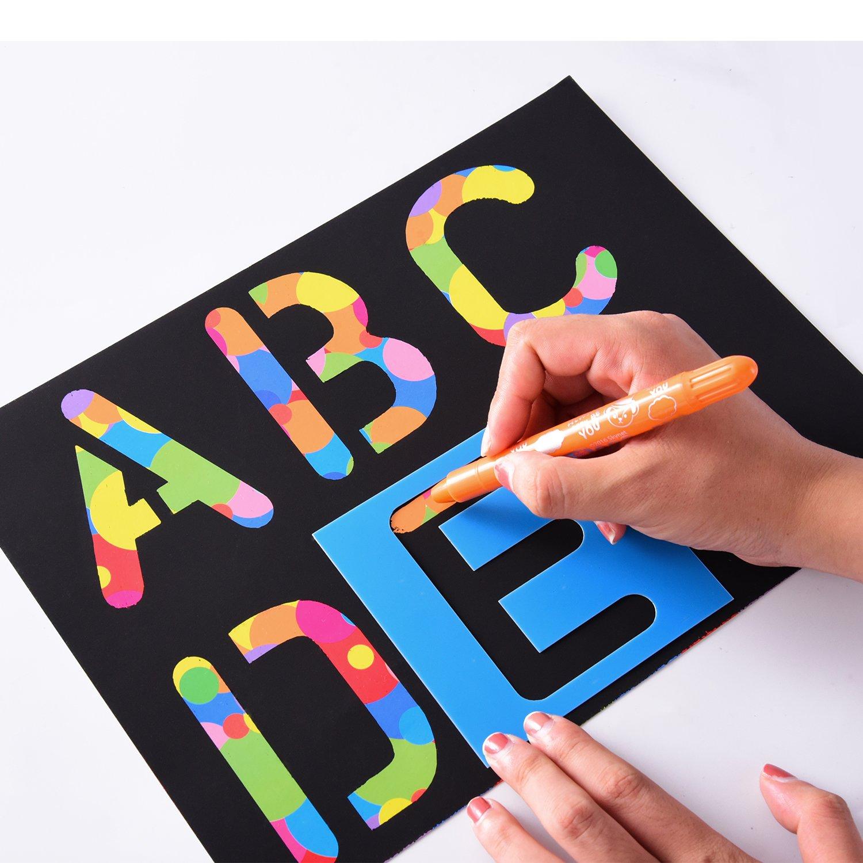 26 Pieces Plastic Letter Stencil Alphabet Stencils Set for Painting Learning