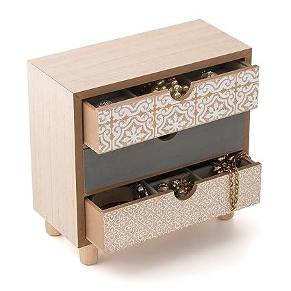 Balvi - Aliisa Caja joyero de Madera. con Tres cajones y Compartimentos para almacenar Joyas