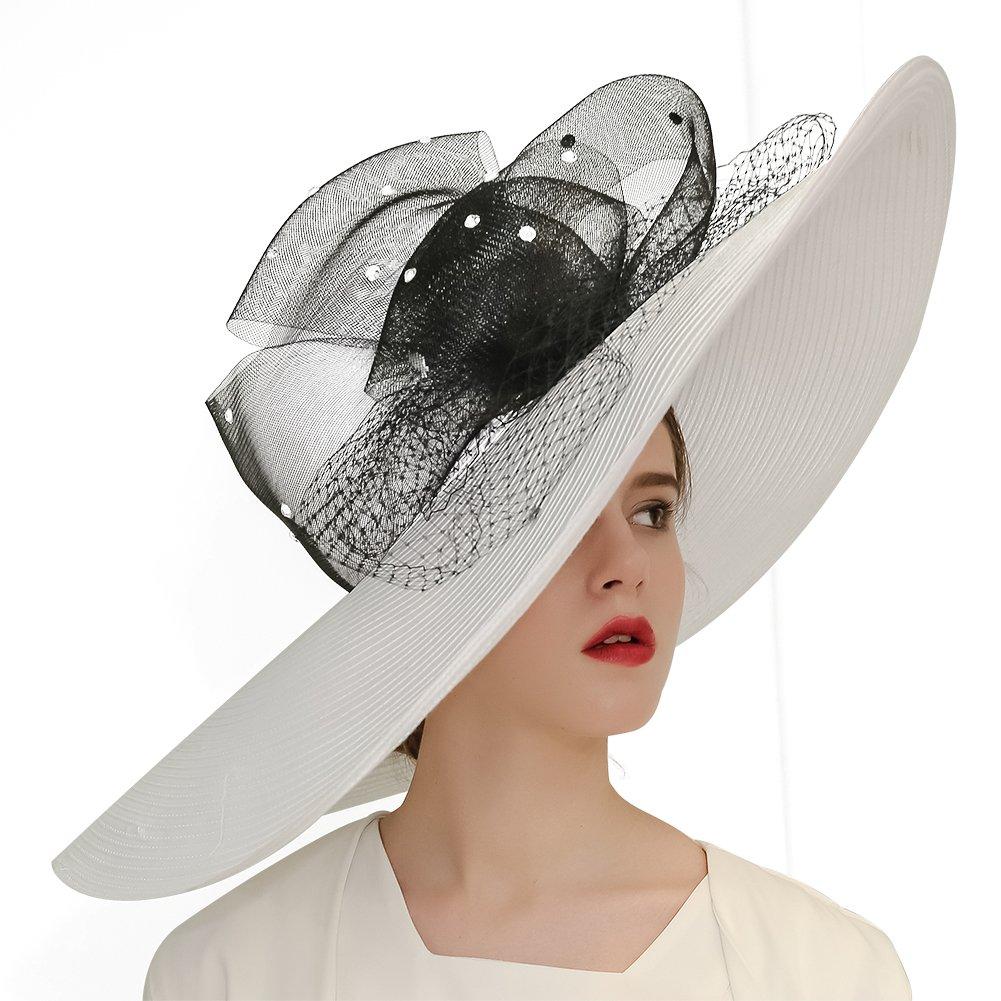 KUEENI Women Hats Church Hats Exaggeration Designer Fashion Lady Wide Brim Hats (White) by KUEENI (Image #2)
