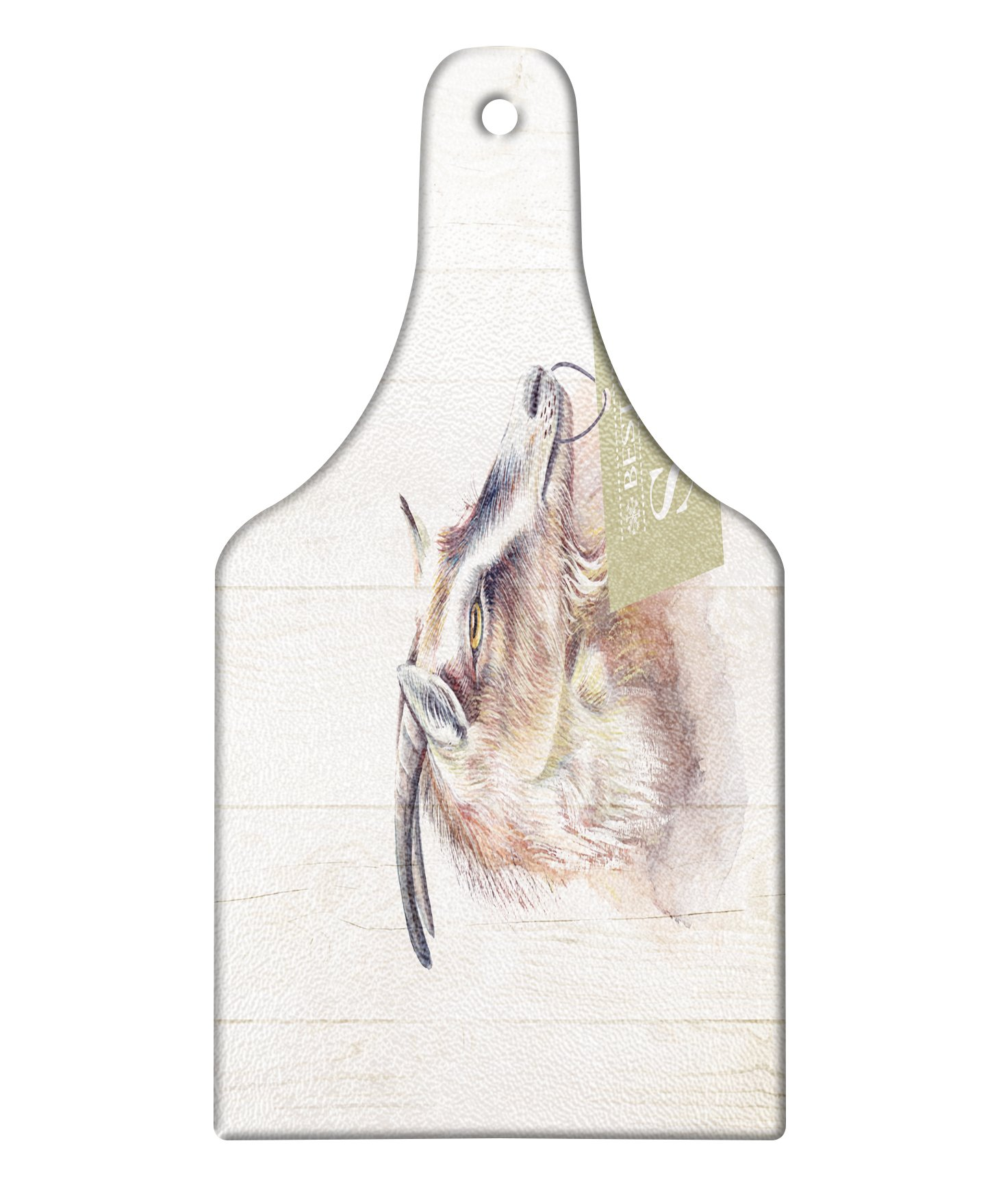 Lunarable Goat Cutting Board, Farm Animal Portrait on Wooden Board Backdrop Domesticated Furry Mammal Vintage, Decorative Tempered Glass Cutting and Serving Board, Wine Bottle Shape, Ivory Brown Black by Lunarable
