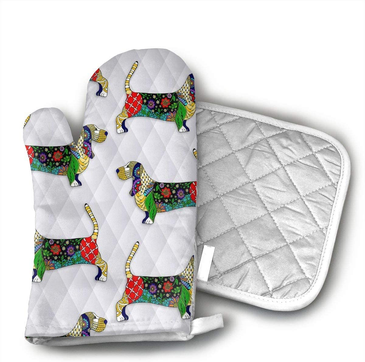 Day of The Dead Bassett Hound Oven Mitts for Kitchen Heat Resistant, Oven Gloves for BBQ Cooking Baking, Grilling,