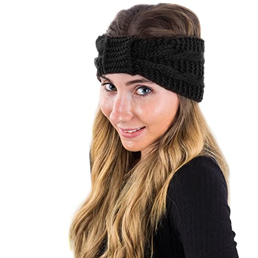 14e73799984955 Winter Headband for Women - Knit Headband - Winter Head Wrap by  CoverYourHair (Plain Black