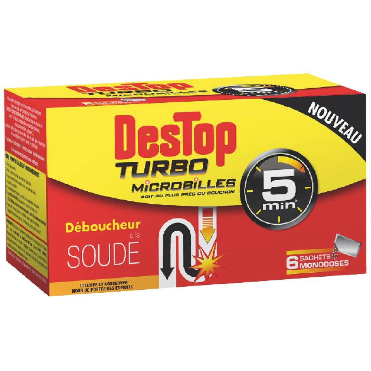 Desatascador turbo Destop - 6 bolsitas microbilles: Amazon.es: Salud y cuidado personal