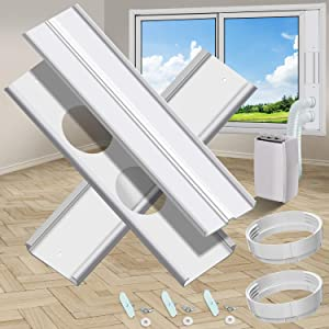 """gulrear Dual Hose Portable Air Conditioner Window kit, Window Seal Plates for Portable AC Vent kit Adjustable Length from 20"""" to 55"""" for 5.9"""" Diameter Exhaust and Intake Outlet Dual Hose Portable AC"""