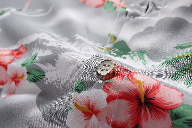 SSLR Camisa Manga Corta con Estampado de Flamencos y Flores Estilo Hawaiana de Hombre