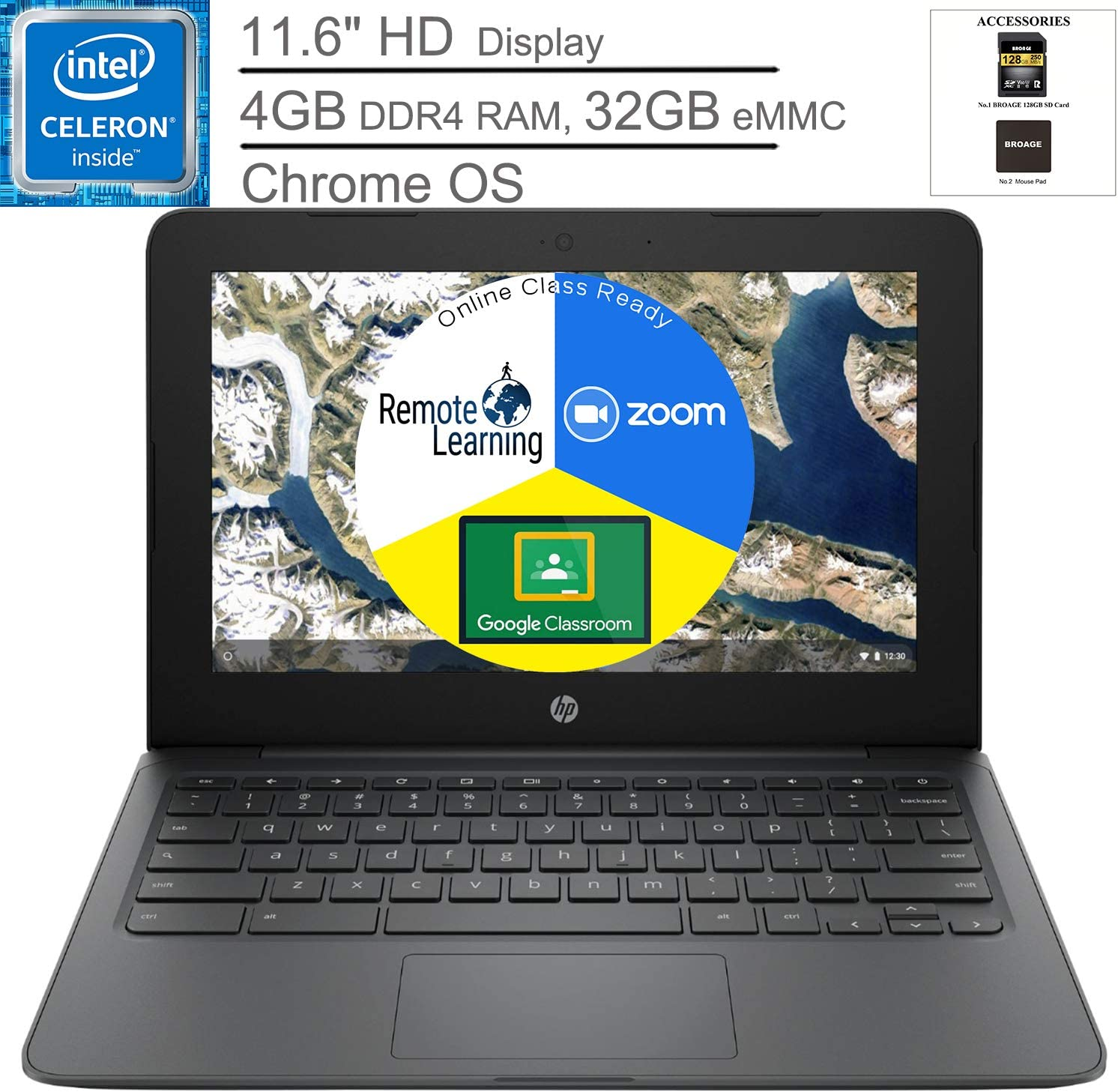 """HP Chromebook 11.6"""" Laptop Computer for Student, Intel Celeron N3350 up to 2.4GHz, 4GB DDR4 RAM, 32GB eMMC, Microphone, Webcam, Type-C, Chrome OS, BROAGE Mouse Pad + 128GB SD Card, Online Class Ready"""