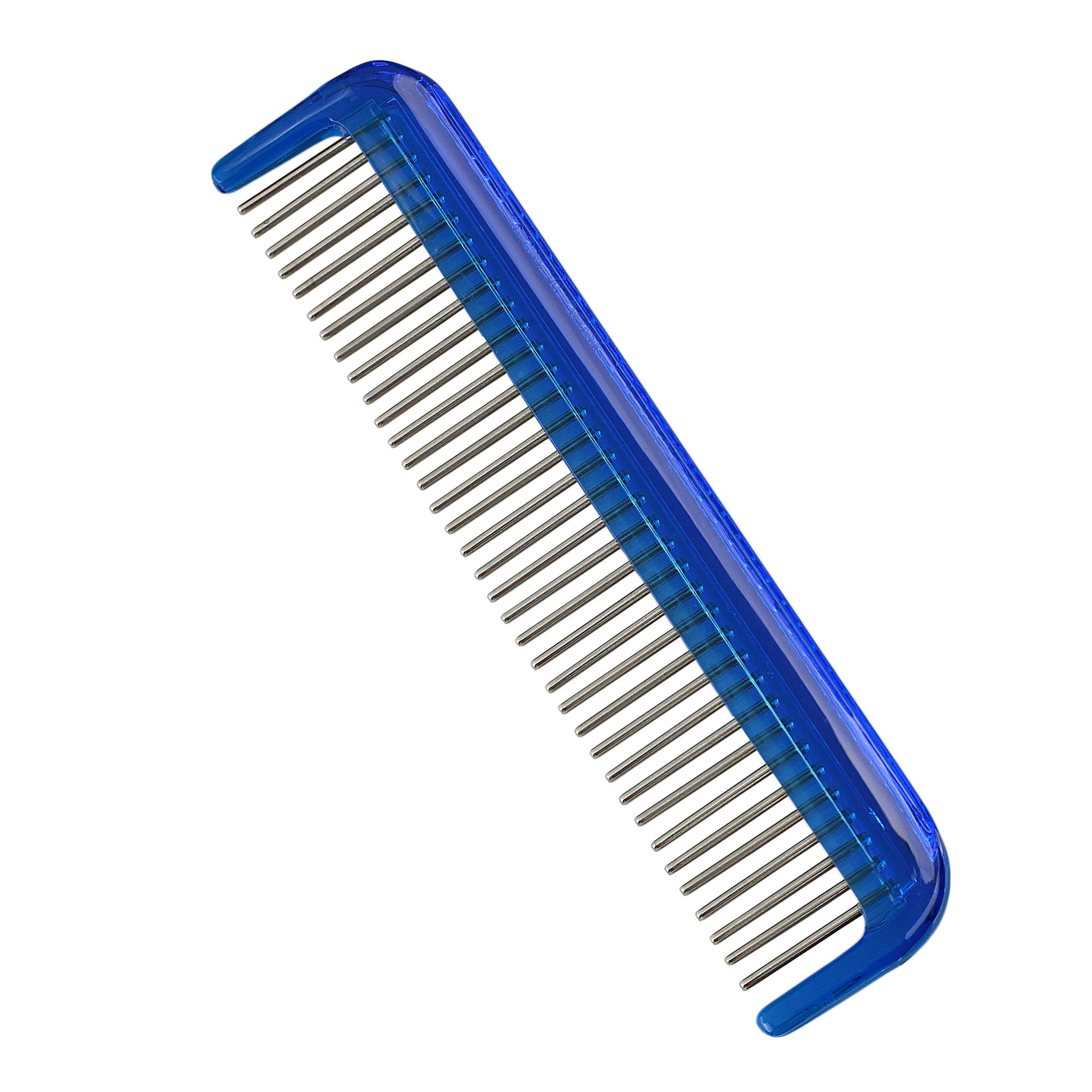 "Hair Doctor Ladies 5"" Comb with rotating stainless steel teeth to reduce hair loss and damage (Ocean Blue)"