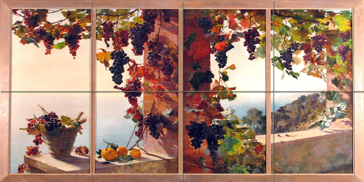 View from the window grape vine sea by RUTH MERCIER Tile Mural Kitchen Bathroom Wall Backsplash Behind Stove Range Sink Splashback 4x2 8'' Ceramic, Glossy