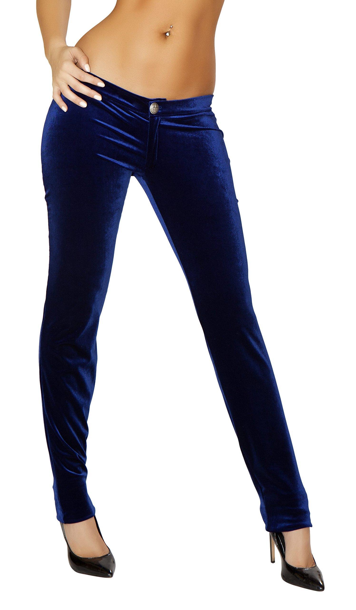 Roma Women's Velvet Button Front Pants, Navy Blue, Large