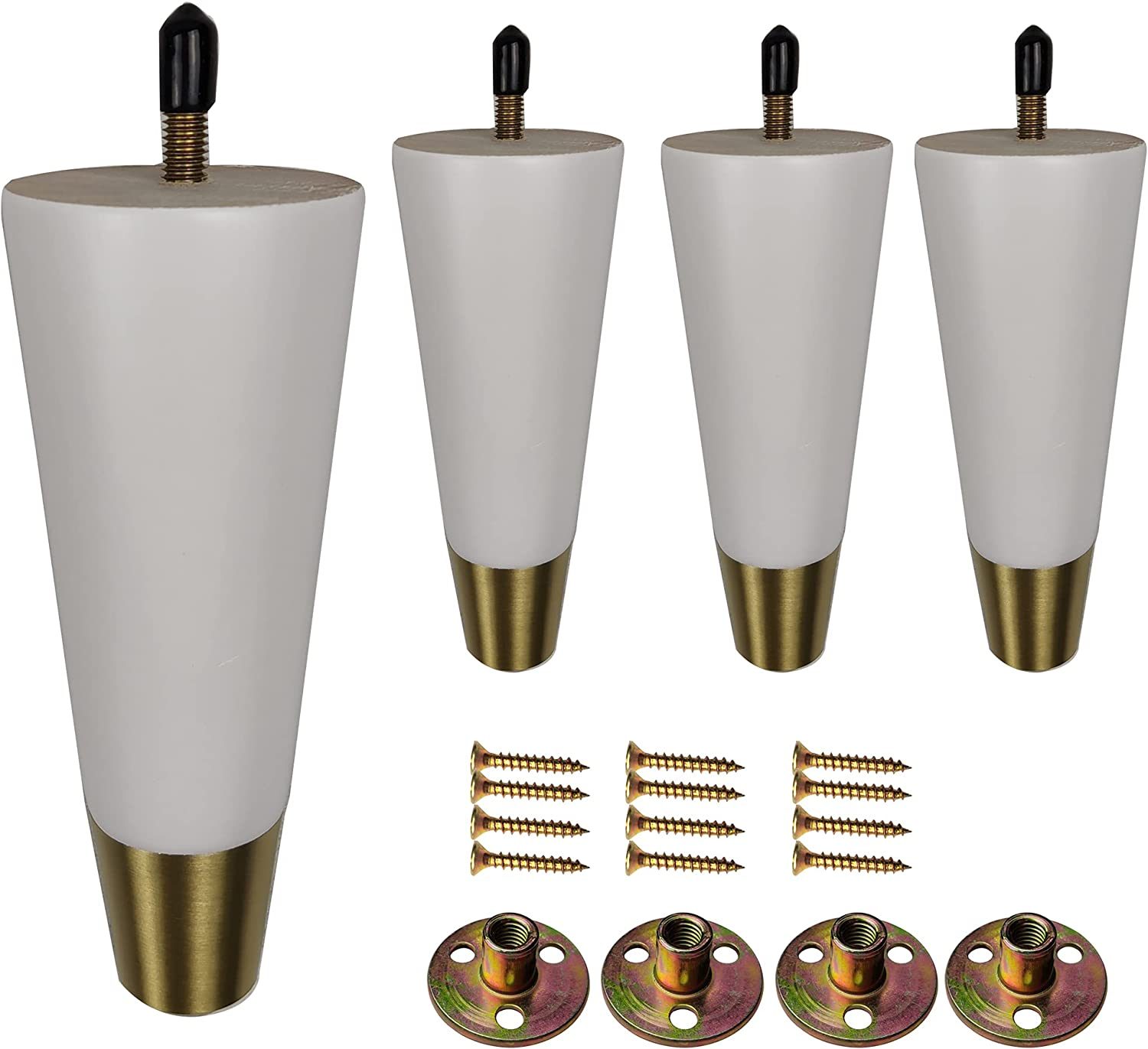 Furniture Legs 6 inch Couch Legs Set of 4 White Sofa Legs Solid Wood Round Tapered Gold Furniture feet Replacement Legs for Sofa Couch Armchair canbinet Dresser with Screw Install (6 inch, White)